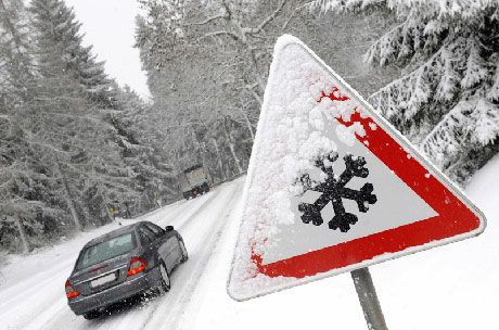 Hazard sign winter driving insurance